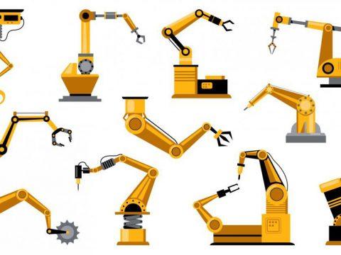 An illustration of various mechanical robot designs