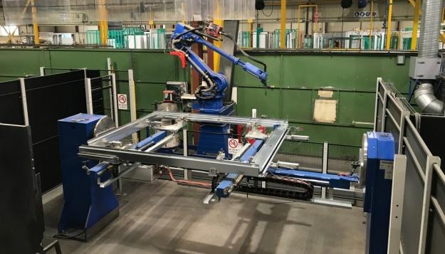 An industrial robot at work in a facility