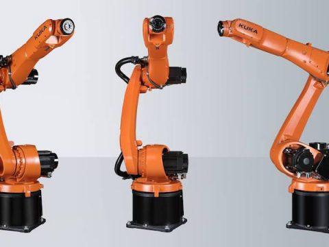 hree Kuka robots displayed together
